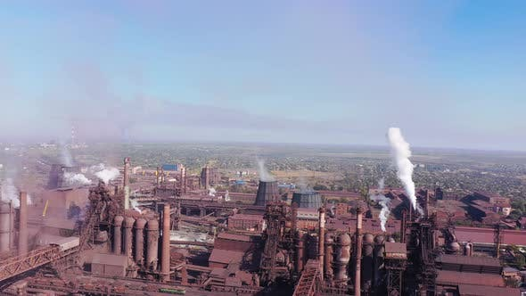 Thumbnail for Environmental pollution. Blast furnaces of a metallurgical plant