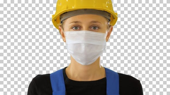 Cover Image for Female construction worker in safety helmet, Alpha Channel