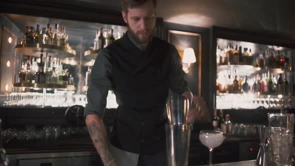 Thumbnail for Hipster Bartender Mixologist Combining Ingredients and for Preparing Alcohol Cocktails in Beautiful