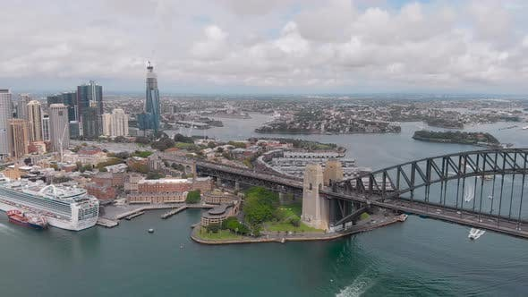 Aerial View. Central Sydney, and the Rocks District. In the Frame Is a Bridge, Skyscrapers, Bay and