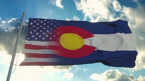 Flag of USA and Colorado State