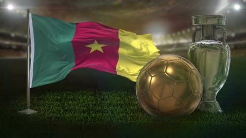 Cameroon Flag With Football And Cup Background Loop