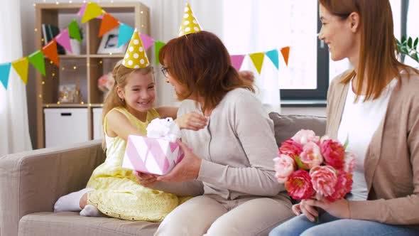 Granddaughter Greeting Grandmother on Birthday