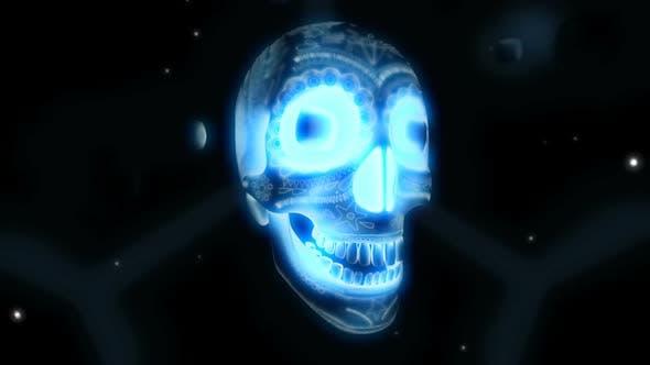 Blauer leuchtender Schädel für Halloween-Party