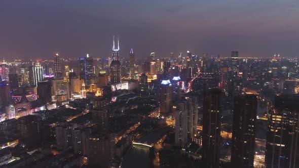 Thumbnail for Shanghai City at Night. Huangpu Cityscape. China. Aerial View