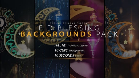 Thumbnail for Eid Blessing Backgrounds Pack