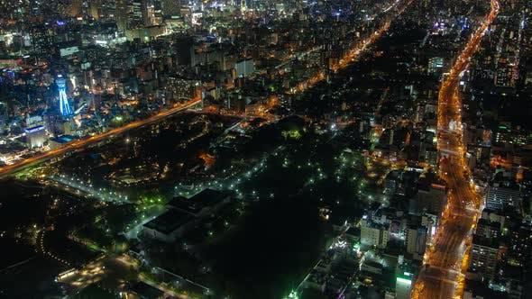 Osaka Metropolis Scene Top View Japan Timelapse