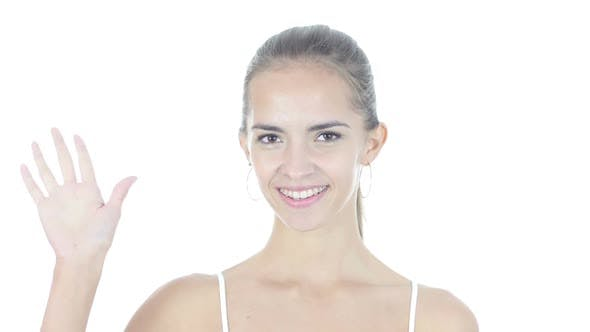 Cover Image for Hi, Hello, Woman Waving Hand, Welcome, Portrait