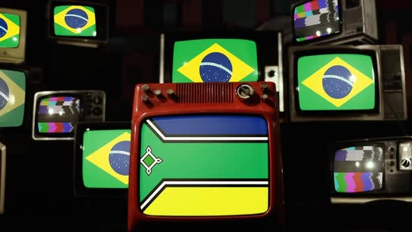 Flag of Amapa and Brazil Flags on Retro TVs.