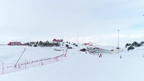 Thumbnail for Ski Center And Skiers Aerial View 14