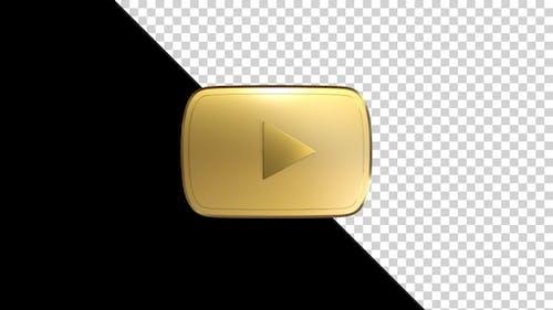 You Tube Golden Logo Seamless Rotate