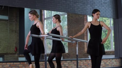 Young Dancers Training at Ballet Barre
