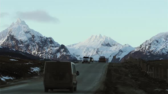 Thumbnail for Road to Ushuaia city with Snow Covered Mountain Background, Tierra del Fuego, Argentina.