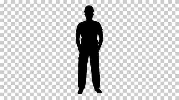 Thumbnail for Silhouette construction man in hardhat Alpha Channel
