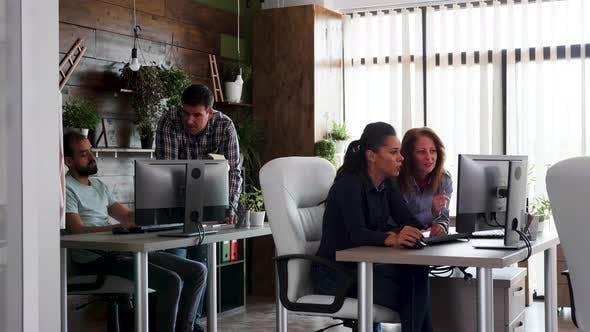 Junges Team arbeitet hart in ihrem Büro für ihr Unternehmen