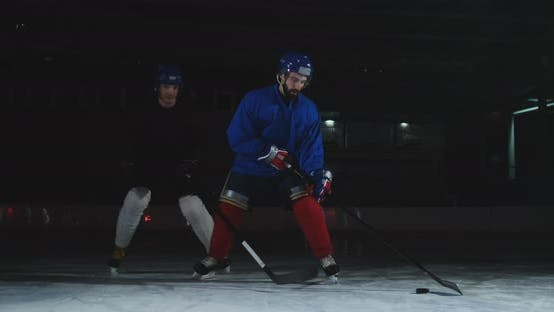 Thumbnail for Professional Hockey Forward Technically Beats the Defender and Quickly Goes To the Hockey Goal.