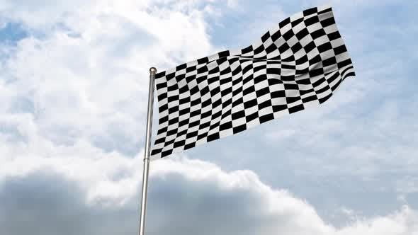 Checkered flag waving in cloudy sky