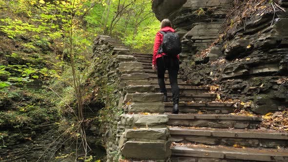 Thumbnail for Female Tourist Walking Up Stairs At Watkins Glen State Park Natural Gorge 01