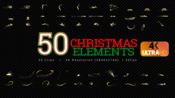 Cover Image for Christmas Elements - 50Clips 4K