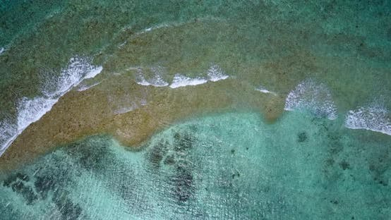 Thumbnail for Beautiful aerial abstract shot of a sandy white paradise beach and aqua blue water background in colourful