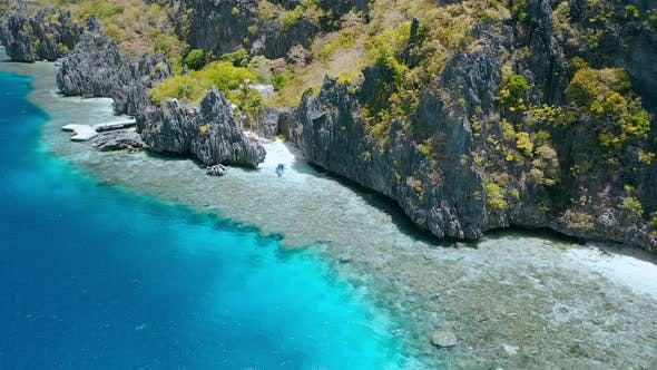 Thumbnail for Aerial View of Tourist Boat Moored at Matinloc Shrine. El Nido, Palawan, Philippines. Bizarre