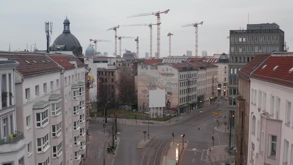 Thumbnail for AERIAL: Slow Flight Trough Empty Central Berlin Neighbourhood Street with Almost No People and No