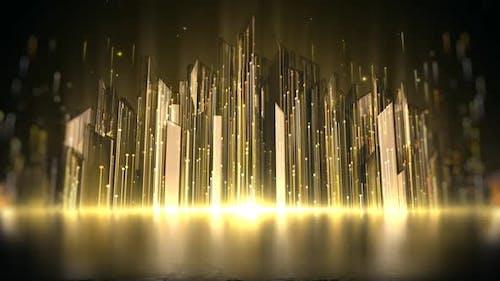 Gold Crystal Lights Background 8K