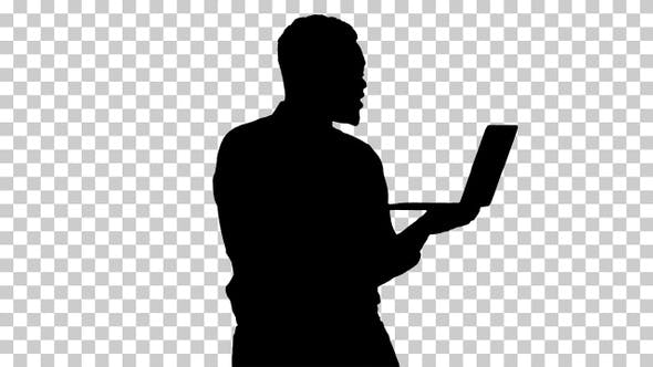 Silhouette Cheerful successful young African American manager