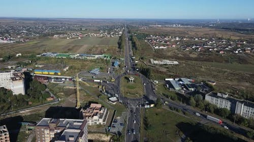 Highway To Enter The City. City panorama