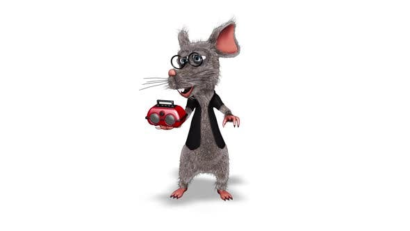 Cartoon 3D Rat Show Player  Looped on White