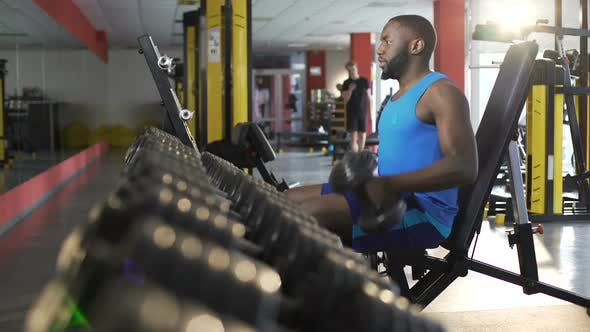 Thumbnail for Male Athlete Exercising With Dumbbells in Gym, Active Healthy Lifestyle, Fitness