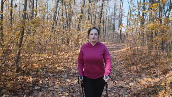 Thumbnail for Nordic walking in the autumn forest