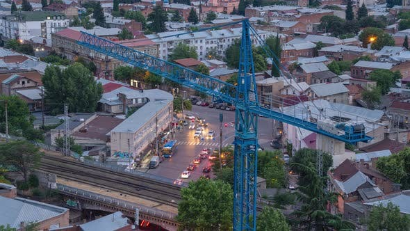 Crane In The Evening City