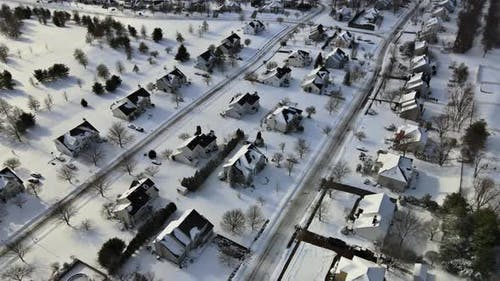 Aerial View Snow Covered Streets Private Properties Idyllic Town Covers Roofs Asphalt Roads Leading