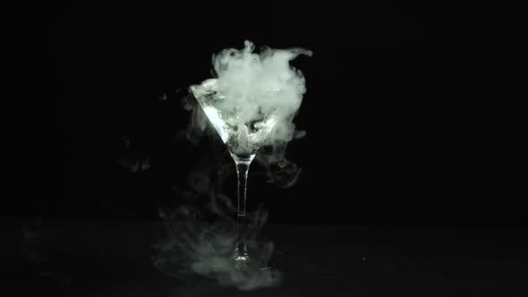 Glass of Martinis with the Effect of Dry Ice