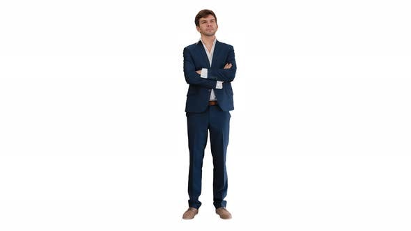 Thumbnail for Confident Young Businessman Raising Finger and Folding Arms Looking at Camera on White Background.