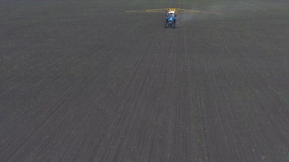 The Tractor Rides and Sprays the Fertilizer on the Crop Planted on the Field, Shooting From the Air