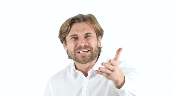 Cover Image for Angry Yelling Man on white Background