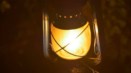 Night Lamp Burning In Darkness