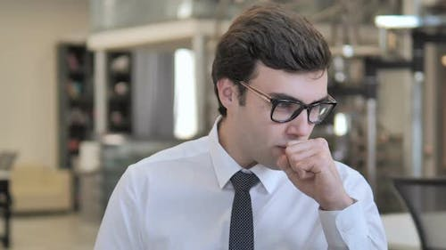 Cough, Sick Businessman Coughing