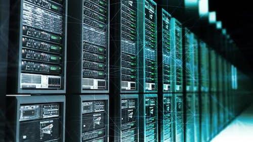 Digital Data Server With Plexus Elements in Dark Room Analysing Digital Data