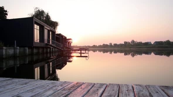 Thumbnail for Sunrise Over the River Near the Houses