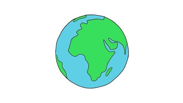 Globe Toon rotatif en boucle