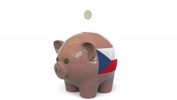 Thumbnail for Putting Money Into Piggy Bank with Flag of the Czech Republic