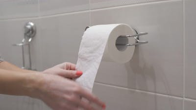 Woman Uses a Roll of Toilet Paper in the Toilet