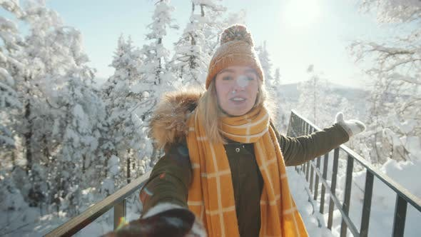Thumbnail for POV of Happy Woman Walking with Boyfriend on Winter Day