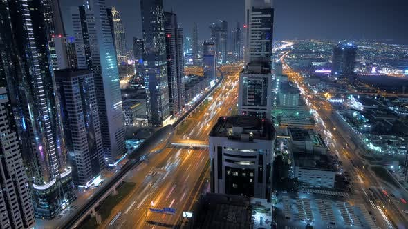 Thumbnail for Illuminated Urban Metropolis City Skyline at Night Lights
