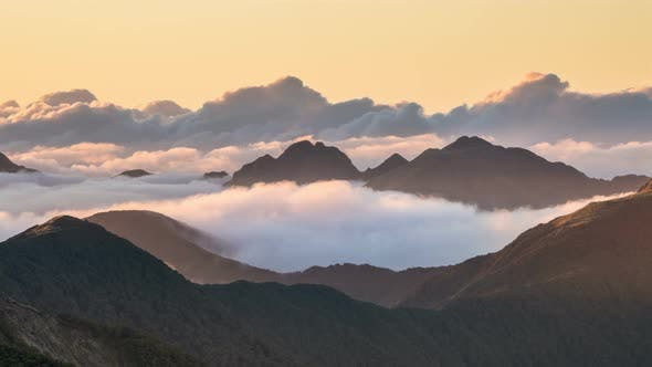 Thumbnail for Colors of Sunset Evening with Clouds in Misty Mountains Nature in New Zealand Wilderness Landscape