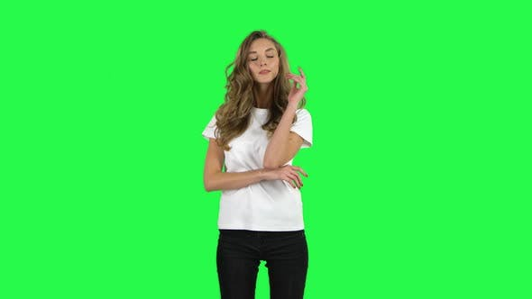 Thumbnail for Lovable Girl Posing at the Camera. Green Screen