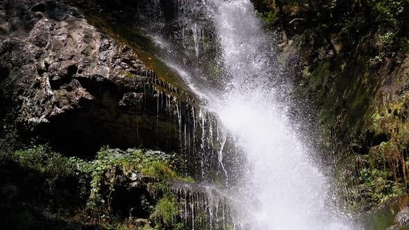Thumbnail for Makhuntseti Waterfall in Autumn, Falling Water Hitting on the Rocks, Slow Motion
